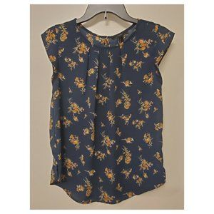 Navy Blouse with Yellow Flowers